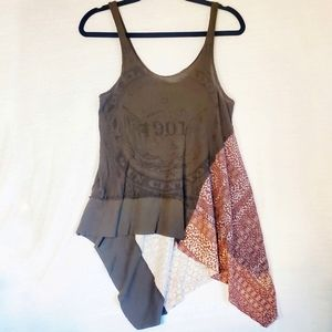 We the Free Mixed Media Handkerchief Hem Tank XS